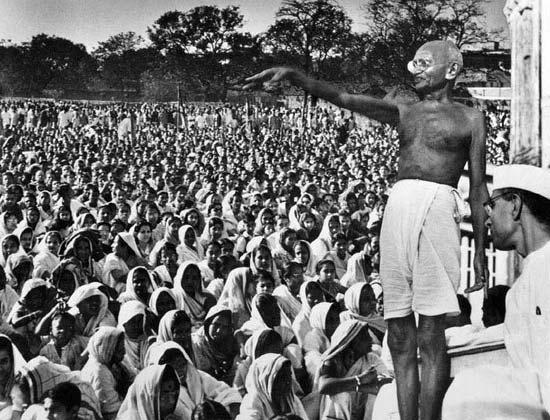 Gandhiji At A Public Meeting