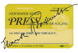 The Newspaper Guild Union Card, 1936-1962.
