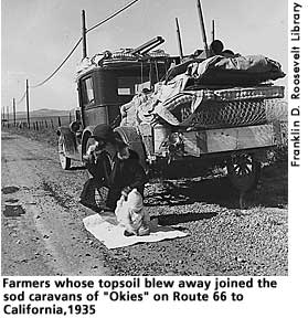[picture: farmers whose topsoil blew away joined the sod caravans of