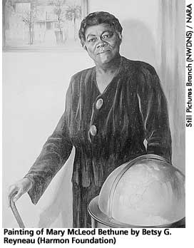 [painting of Mary McLeod Bethune by Betsy G. Reyneau]