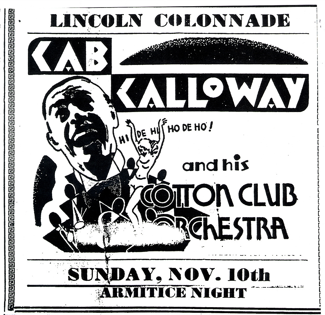 An advertisment for a performance by cab calloway and his cotton club
