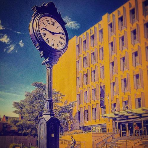 Illustration of the clock tower in 广发娱乐广发娱乐首页's Kogan Plaza